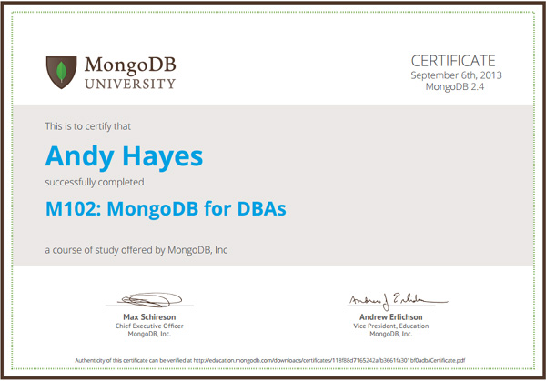 MongoDB certified DBA M102 certificate