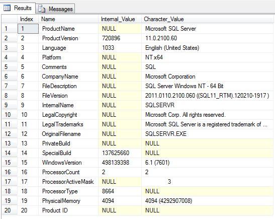 sql server version number