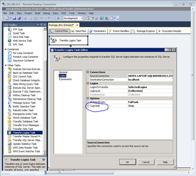 transfer logins between sql server servers or instances