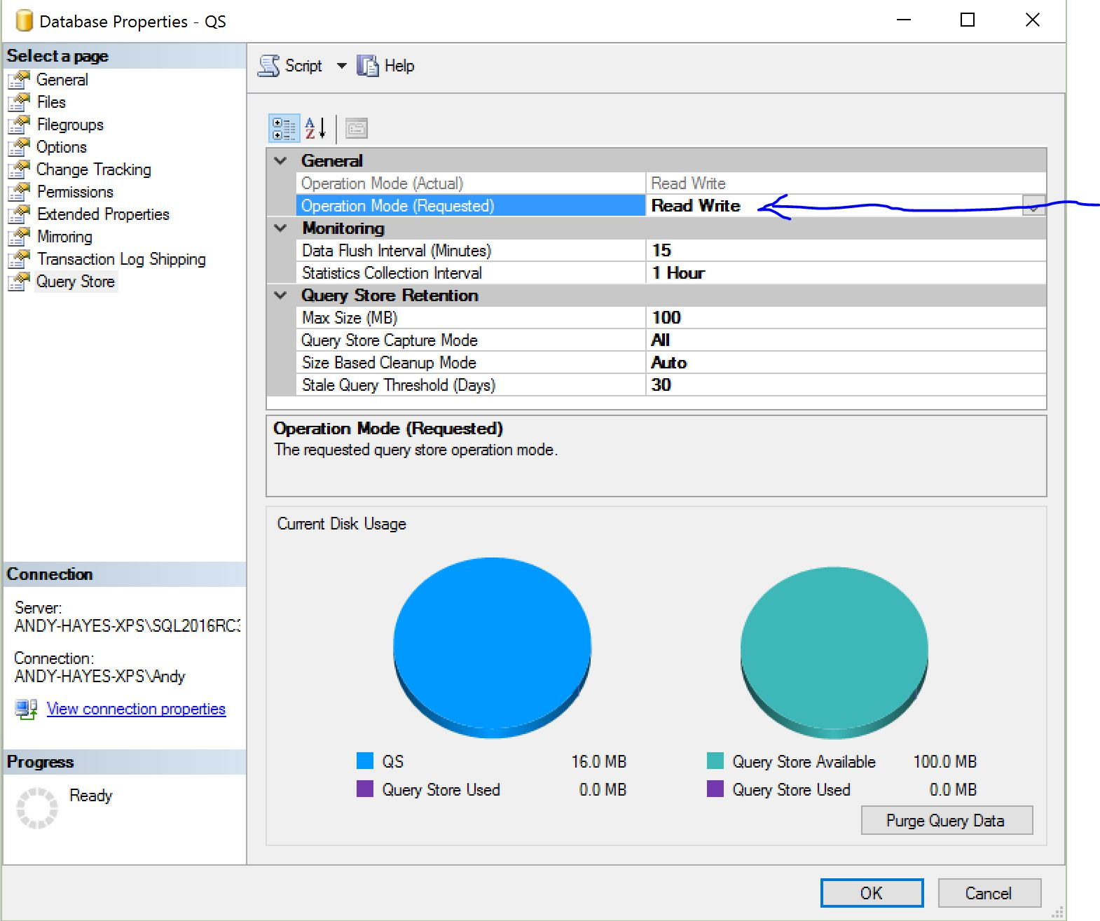 enable sql server 2016 new features query store