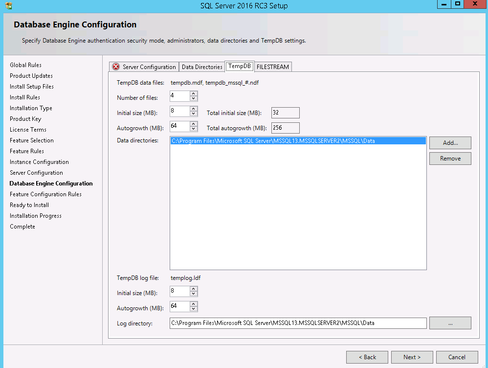 New Feature of SQL Server 2016 configure multiple tempdb files